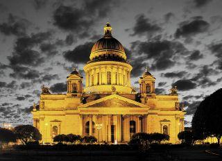 Почтовая открытка Ночной Исаакиевский собор