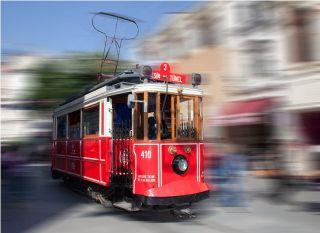 Почтовая открытка Ретро-трамвай. Стамбул
