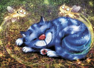 Почтовая открытка Котофеечки сладких снов.