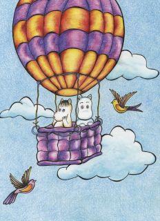 Почтовая открытка Муми-тролли на воздушном шаре